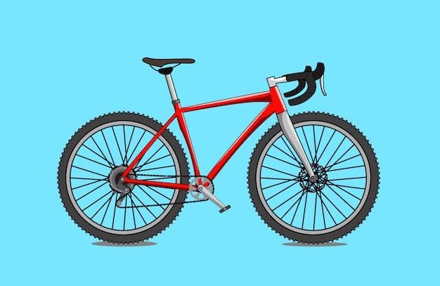 Czerwony żwir rower płaski kształt