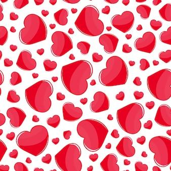 Czerwonych serc bezszwowy wzór na bielu