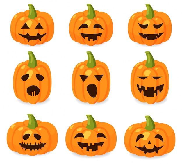 Cześć halloween, duży zestaw emocji dyni, transparent halloween, odosobniony dyniowy horror, październikowa ilustracja