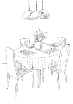 Część jadalni. okrągły stół i krzesła. na stole wazon z kwiatami. ręcznie rysowane szkic. ilustracja wektorowa