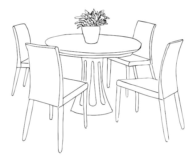 Część jadalni. okrągły stół i krzesła. na stole wazon z kwiatami. ręcznie rysowane szkic. ilustracja wektorowa.