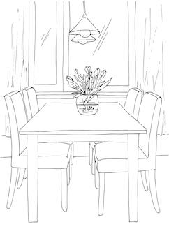 Część jadalni. stół i krzesła przy oknie. na stole wazon z kwiatami. nad stołem wiszą lampy. ręcznie rysowane szkic. ilustracja wektorowa.