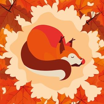 Cześć jesień ilustracja z wiewiórką