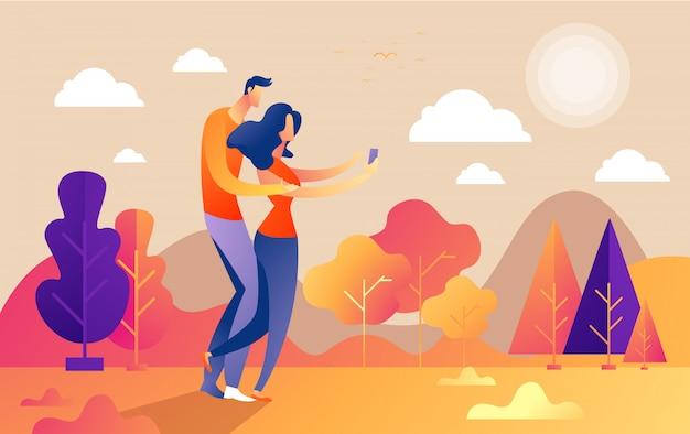 Cześć jesień, para faceta i dziewczyny charakterów selfie wzdłuż ścieżki w parku, spadek, jesień liście, wektor, ilustracja, kreskówka styl, odizolowywający.