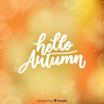 Cześć jesień tła kaligraficzny styl