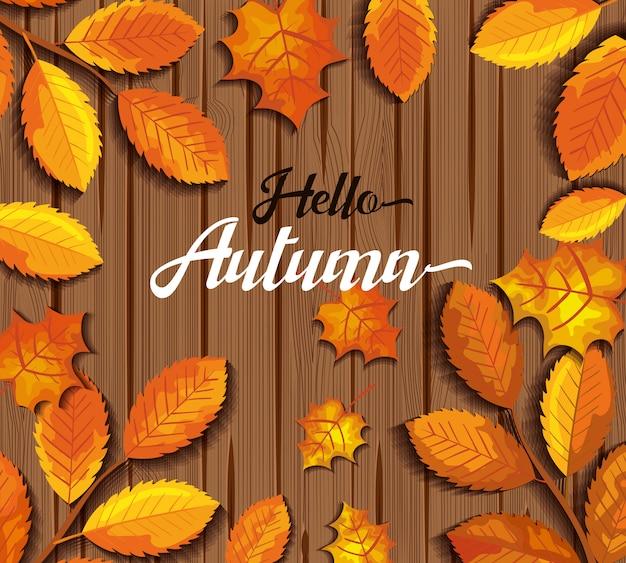 Cześć jesień w drewnie kartkę z życzeniami