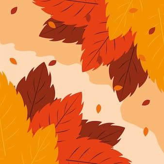 Cześć jesieni ilustracja z liśćmi