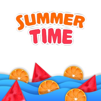 Cześć lato czas świeże owoce tropikalne