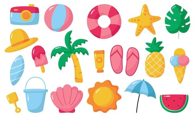 Cześć lato ikony na białym tle