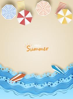 Cześć lato ilustracja. podróżować i odpoczywać latem na koncepcji plaży. styl papieru sztuki.