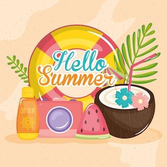 Cześć lato plakat z ikonami wakacji