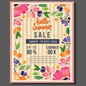 Cześć lato plakatowa sprzedaż z akwarela kwiatu ilustracją