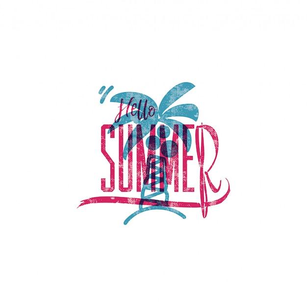 Cześć lato retro znak