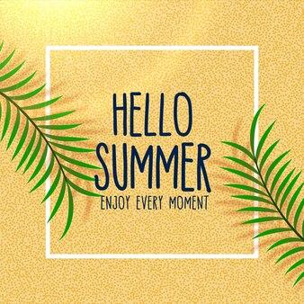 Cześć lato uroczy plażowy tło z liścia cieniem