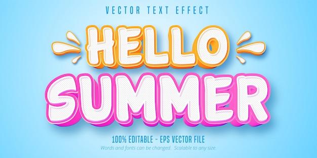 Cześć letni tekst, edytowalny efekt tekstowy w stylu komiksowym