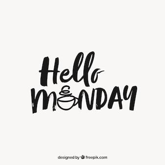 Cześć poniedziałek, czarno-biały