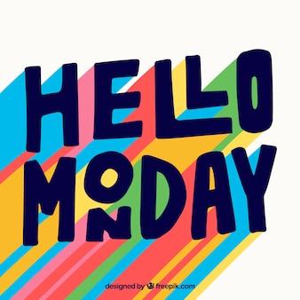 Cześć poniedziałek, litery z wieloma kolorami