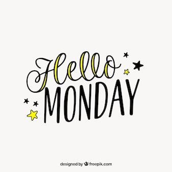 Cześć poniedziałek, rysowane ręcznie litery