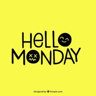 Cześć poniedziałek, żółte tło