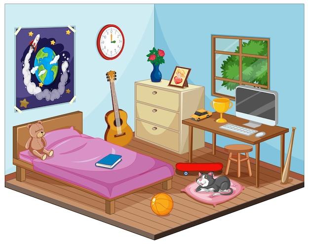 Część sypialni sceny dla dzieci w stylu kreskówki