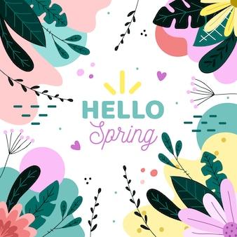 Cześć wiosna memphis tło