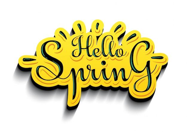 Cześć wiosny majcheru tła żółty wektor