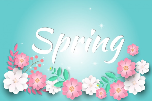 Cześć wiosny sprzedaży tło z pięknymi papierowymi kwiatami.