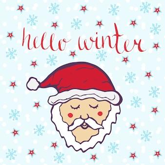 Cześć zima z uroczym mikołajem. zima ręcznie rysowane karty wektor.