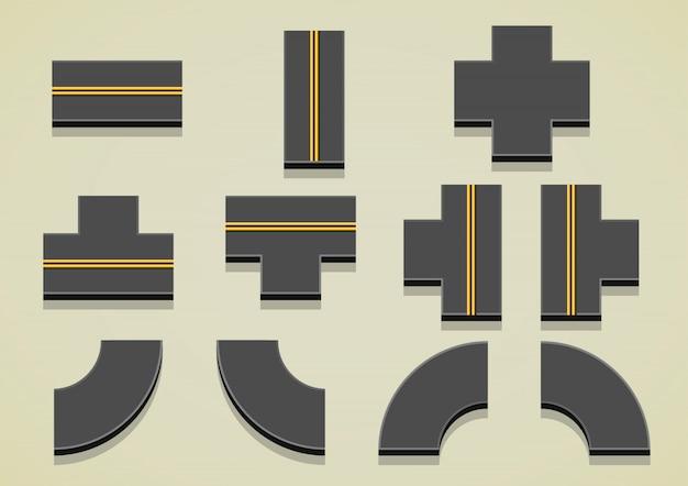 Części drogowe z żółtymi liniami