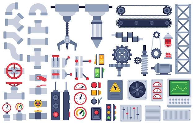 Części maszyny. automatyczne mechanizmy techniczne, wyposażenie przekładni, silnik. koło zębate i silnik, wał, przeguby płaskie wektor zestaw maszyn przemysłowych. elementy do budowy automatycznej jak przyciski, przełączniki, pokrętła