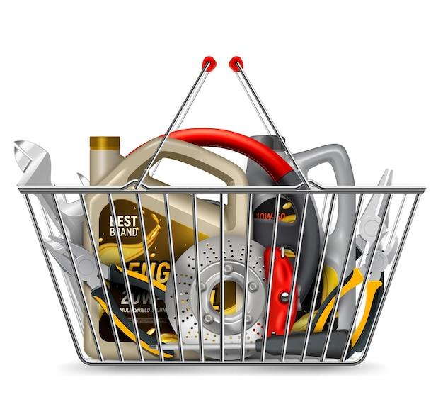 Części samochodowe na zakupy realistyczna kompozycja z metalowym koszem na zakupy wypełnionym olejem silnikowym i narzędziami na białym tle ilustracji