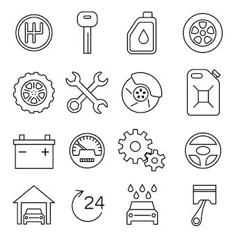 Części samochodowe, usługi, auto naprawa cienka linia wektor zestaw ikon. akumulator i olej, hamulec i przekładnia