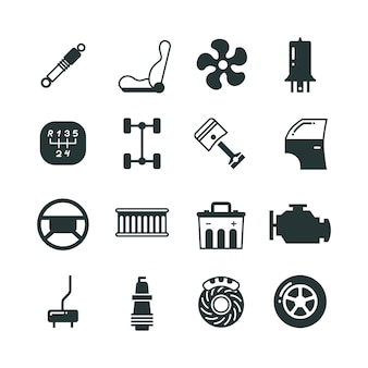 Części samochodowe zestaw ikon wektorowych mechaniki