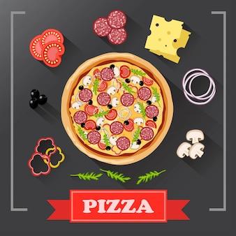 Części składników pizzy na tablicy, z podpisanymi składnikami.