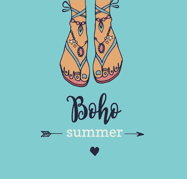 Czeski, hipisowski letni plakat z kobiecymi sandałami