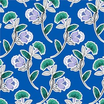 Czeski kwiatowy, monotonowy zielony fioletowy bez szwu wektor wzór, ręcznie rysowane ilustracja w stylu ludowym, projektowanie mody, tkaniny, grafiki, tapety, zawijanie i wszystkie odbitki