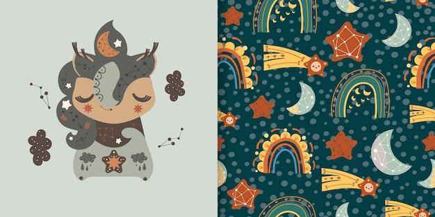 Czeski styl z jednorożcem i tęczowymi elementami ilustracyjnymi i bezszwowym wzorem.