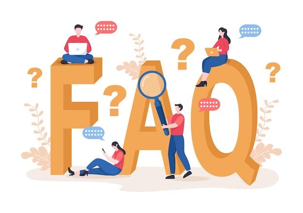 Często zadawane pytania lub często zadawane pytania dotyczące witryny, pomocy technicznej bloggera, pomocy dla klientów, przydatnych informacji, przewodników. ilustracja wektorowa tła