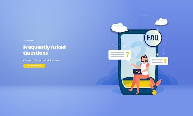 Często zadawane pytania lub koncepcja faq z ilustracją pytań i odpowiedzi online