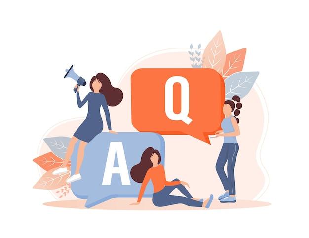 Często zadawane pytania szablon strony wektor baner internetowy obsługa klienta