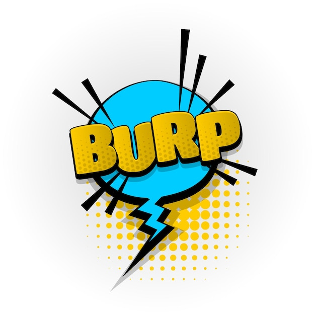 Czkawka parp dźwięk komiks efekty tekstowe szablon komiksy dymek półtony styl pop-artu