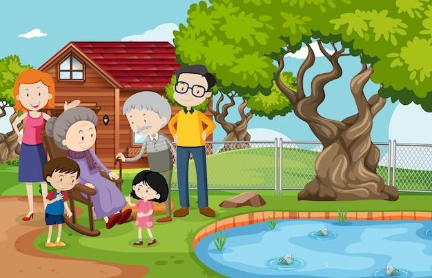 Członek rodziny w domu na zewnątrz sceny