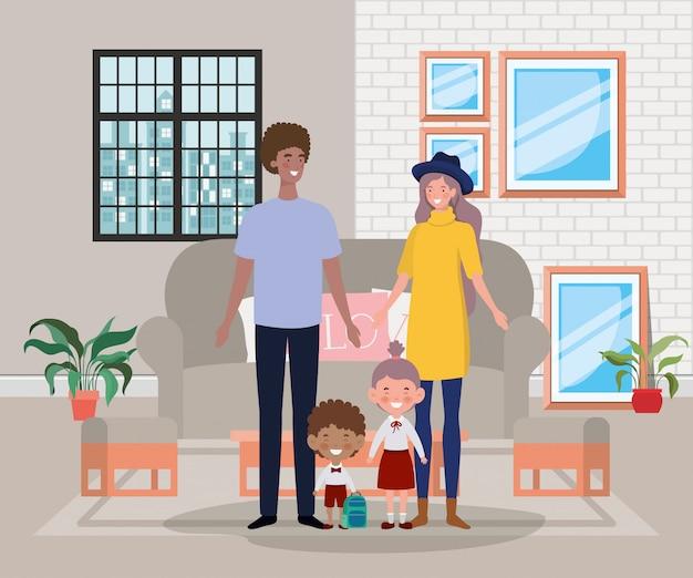 Członkowie rodziny na scenie domu bawialni