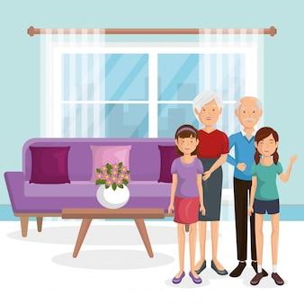 Członkowie rodziny w salonie