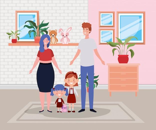 Członkowie rodziny w scenie domu