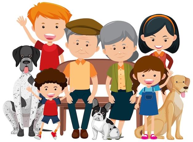 Członkowie rodziny z psem na białym tle