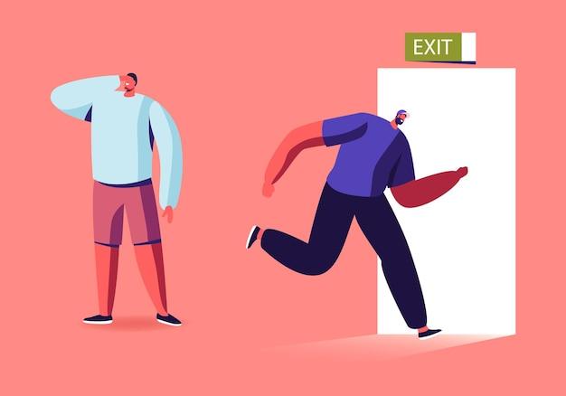 Człowiek biegnie do otwierania drzwi z szyldem wyjścia.