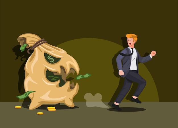 Człowiek biegnie od ilustracja kreskówka worek pieniędzy potwora