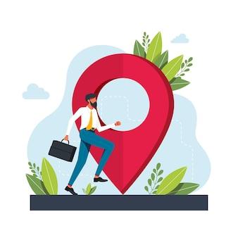 Człowiek biegnie w kierunku geolokalizacji. symbol geolokalizacji. aplikacja usługi nawigacji gps. mapy, metafory dojazdu. ilustracje wektorowe koncepcja na białym tle metafora. uzyskaj wskazówki dotyczące abstrakcyjnej koncepcji