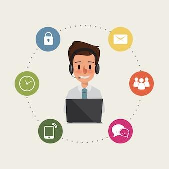Człowiek biznesu do infografiki usługi klienta